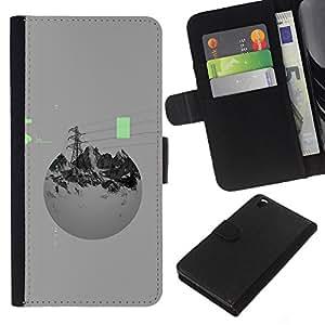KingStore / Housse Etui en cuir / HTC DESIRE 816 / Montagnes pouvoir abstrait Sphère Gris