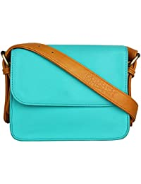 Berrypeckers Women's Synthetic Leather Sling Bag (Blue)