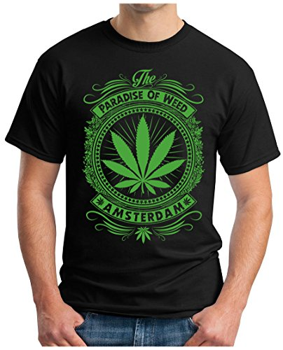 OM3 - Amsterdam - T-Shirt Holland Netherland Grachten Coffeeshop Smoke Legal Ganja US College, M, Schwarz
