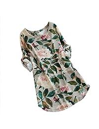 Vestito da donna    Fami Abito da donna in cotone e lino taglie forti Abito  con maniche lunghe a maniche lunghe con stampa… 716835990f9