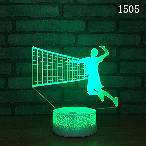 Volleyball sport 3d nacht lampe kreative touch 7 farbe tisch 3d lampe neuheit power bank led usb led nachtlicht (Tisch Decken Star Wars)
