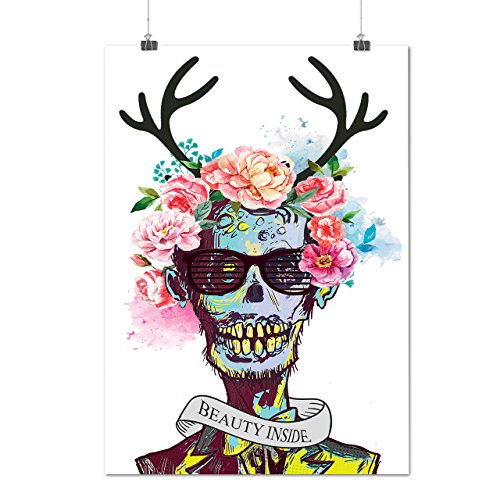 Blume Zucker Schädel Zombie Seele Kostüm Mattes/Glänzende Plakat A3 (42cm x 30cm) | Wellcoda