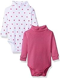 Spasilk Baby Girls 2 Pack Turtleneck Long Sleeve Bodysuit
