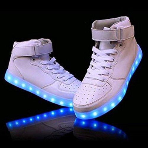 (Present:kleines Handtuch)JUNGLEST® 7 Farbe Wechseln USB aufladen LED-Licht Leuchtend Mode Sportschuhe Freizeitschuhe Outdoorschuhe Laufschuhe Schuhe Sneaker f Weiß nPqA7X1