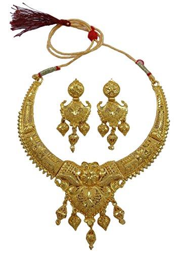 Banithani Indiano Tradizionale Placcato Oro  K Designer collana orecchini set bollywood gioielli, Lega, colore: Gold (Design#3), cod. BNG3103A