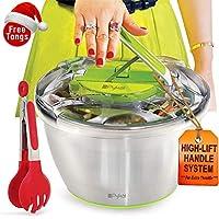 Centrifugadora para ensaladas grande de acero inoxidable - Escurridor de lechuga con tenazas GRATIS, secado rápido, base antideslizante, seguro para lavavajillas y palanca de accionamiento de PYKAL