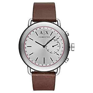 Armani Exchange Men's 'Connected' Quartz Stainless Steel and Leather Smart Watch, Color Brown AXT1022