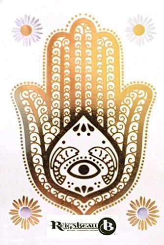 Wunderschöne Temporäre Metallic Tattoos (Klein Hamsa Hand) von Royal Rebel