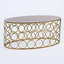 Hogar Decora Couchtisch 100 Metall Gold/Glas Schwarz