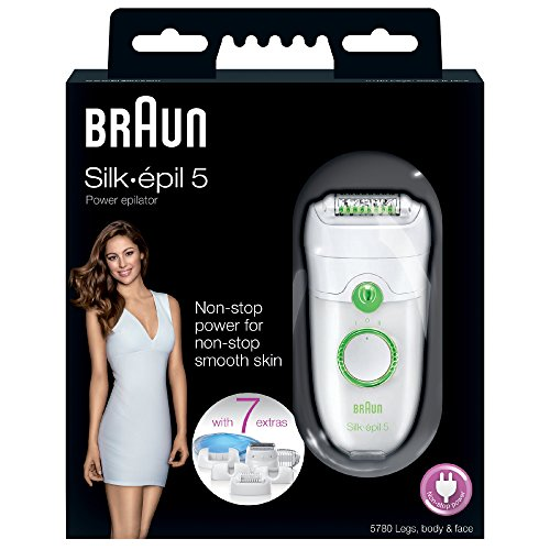 Braun Silk-Epil 5 Power 5780 Epilator with 7 Extras Including a Shaver Head and a Trimmer Cap