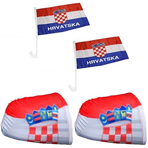 """Sonia Originelli Fan-Paket-3"""" Auto WM Länder Fußball Flaggen Fahren Car Farbe Kroatien"""