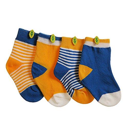 Happy Cherry Vintage Baby Jungen Mädchen 4 Paar Socken Set Weich Baumwolle - Königblau Hellorange Gepunkt Gestreift 6-12 Monate