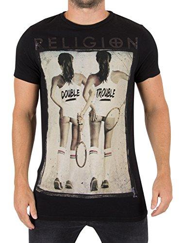 Religion Herren Double Trouble-Grafik-T-Shirt, Schwarz Schwarz