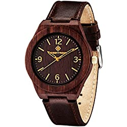Greentreen Wood Watches Leather Strap Unisex Size In Sandalwood Red 38mm Case Diameter For Sale