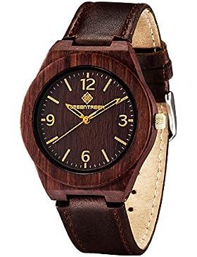 Holzuhr Unisex Größe Armbanduhren in echtes Leder Bands Vintage rötliche Farbe mit Japan Quartz Bewegung in 38mm...