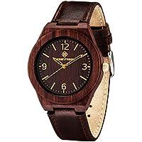 Orologi Greentreen legno Unisex Size Womens Watch legno naturale, con morbidi cinturini cuoio del vero legno Mens Watch stile vintage con il caso di legno di sandalo In Red - Professionale Orologio Al Quarzo