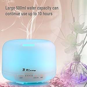 Rixow Diffusore di aromi/Umidificatore ad Ultrasuoni/Diffusore oli essenziali 7 colori LED Auto off purificatore 500ml