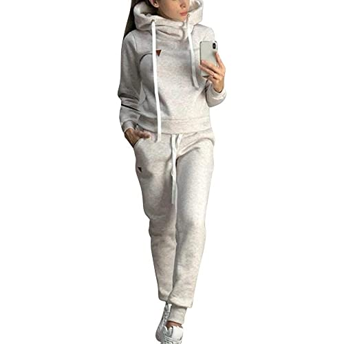 Loozykit, tuta da donna, in pile, con calda imbottitura e felpa con cappuccio + pantaloni lunghi, 2 pezzi, tuta da ginnastica, jogging, per il tempo libero