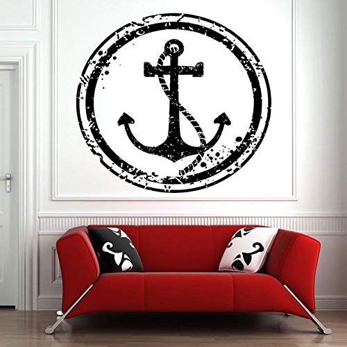 jiuyaomai Sea Rope Coastal Nautical Home Decor Wall Sticker Vinile Rimovibile Murale Room Design Pattern Art Decalcomanie Camera dei Bambini Rosso 57x57cm