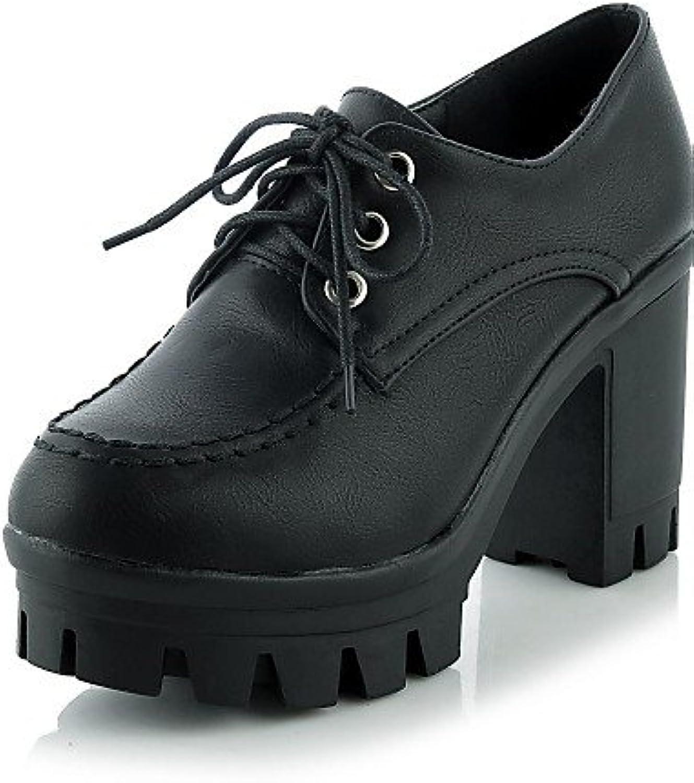 IOLKO njx/Hug Damen Schuhe Chunky Ferse Heels/Plattform Heels Office & Karriere/Casual Schwarz/Grau