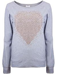 Womens Sweatshirts Ladies Tracksuit Tops Brody & Co Gym Wear Heart Rhinestone Lounge Wear