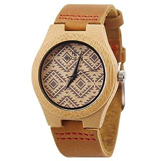 ACMEDE Damen Holz Armbanduhr Quarz mit Lederarmband 16YE
