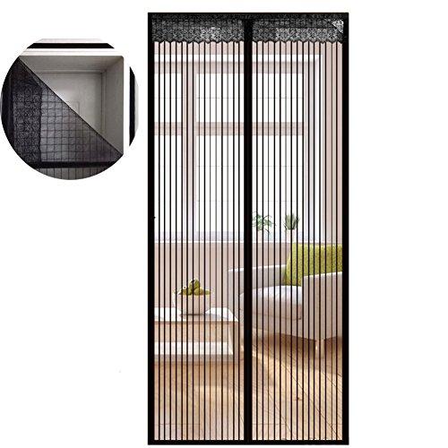Liveinu zanzariera magnetica per porte finestre tenda zanzariera con magneti rete anti zanzare zanzariera strisce laccio adesivo fotogramma intero versione nero (strisce laccio adesivo) 80x240cm