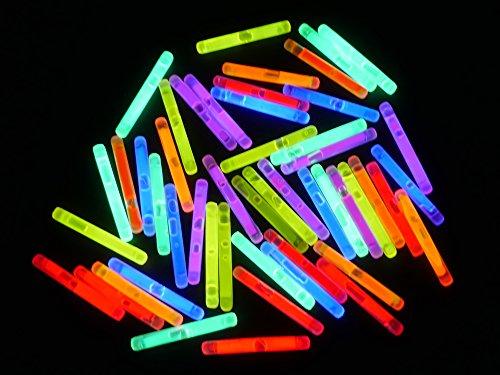 ETU24 50 Mini Knicklichter 38 x 4,5mm Leuchtstäbe Angelsport Bissanzeiger Glowstick Partylichter LED Luftballon Tischdekroration Neon rot gelb pink grün orange blau