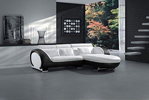 SAM Ecksofa Vigo Combi 1, weiß / schwarz, Couch aus Kunstleder, 242x181 cm rechts