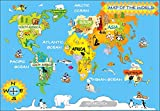 Detailed Kids Graphic Map of The World with Animals and Continent Names Size: 48 x 30 cm by OFA Prints