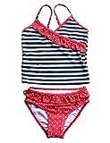 Echinodon Mädchen Tankini Set Zweiteiler Badeanzug Punkte Streifen Muster Bademode Schwimmanzug 128-134