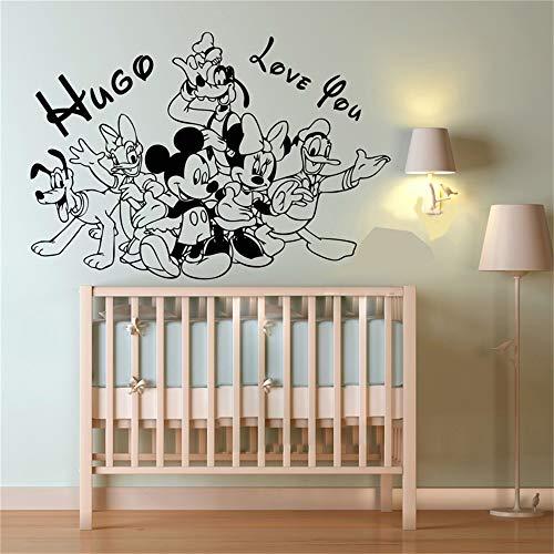 Wandtattoo Kinderzimmer Wandtattoo Schlafzimmer Mickey Minnie Mouse Wall Art Decal Sticker Personalized Custom Name Cartoon Baby Characters Mickey Mouse Love Vinyl Wall Stickers For Kids (Wandsticker Für Mädchen Disney)