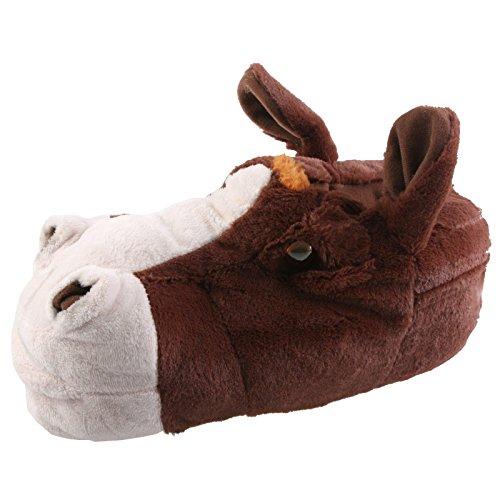 SAMs Pferd Esel Tier Hausschuhe Pantoffel Puschen Schlappen Kuscheltier Plüsch Damen Herren 35-48, TH-Pf, Farbe braun, Größe 43/44