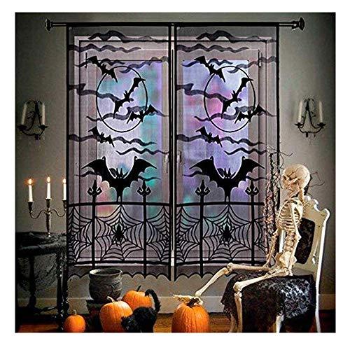 TXIN 2 Stücke 84x40 Zoll Schwarz Lesbie Halloween Dekoration Vorhang Fenster Türverkleidung mit Spinnennetz Fledermäuse für Kostüm-Party Spukhaus Requisit
