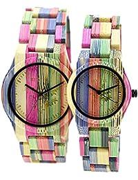 Bewell reloj de cuarzo los amantes de la púrpura Colorful Madera de Bambú Reloj Japón movimiento Madera Pareja de control remoto