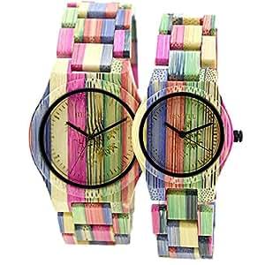 Bewell orologio da uomo al quarzo colorato in legno di for Orologio legno amazon