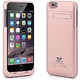 Coque Batterie iPhone 6s / 6 4.7'', SAVFY 3200mAh Li-polymère Coque Batterie Externe, Design à Glissière en 2 Parties, Or Rose