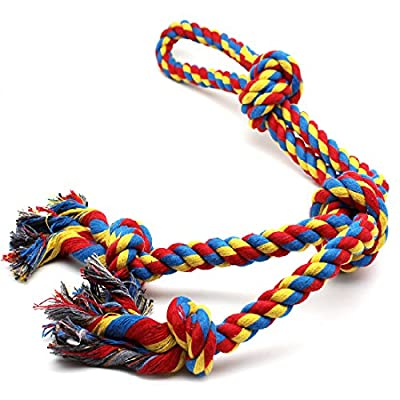 XL Dog Rope Toys for Strong Large Dogs,Dog Chew Toy 4 Knots Rope Tug for Aggressive Chewers, Interactive Rope Chew Toys to Large Dog Breeds (26inch 4Knot Rope)