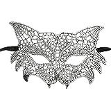 Halloween Catwoman Masque, Byste Dentelle Masque pour bal masqué et mascarade Découpe Bal fête Masque Accessoires, Argenté