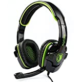 Sades SA 708Wired Over-Ear Cuffie 3,5mm Audio Plug Gaming Headset Gaming Cuffie Auricolari con Microfono Verde