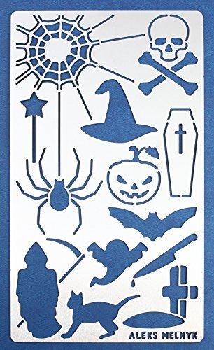 Aleks Melnik 17 Bullet Journal Schablone Metall/Halloween/Edelstahl Planer Schablonen Journal/Notebook/Tagebuch/Scrapbooking/Graffiti/Crafting/Sprühfarbe/DIY Zeichnungsvorlage Schablone (Scary Schablonen Halloween)