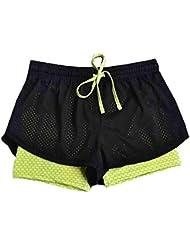 Sport pantalones de yoga, ✽Internet✽ Pantalones cortos de la yoga de la cintura de los deportes de los deportes de las mujeres (Verde, M)