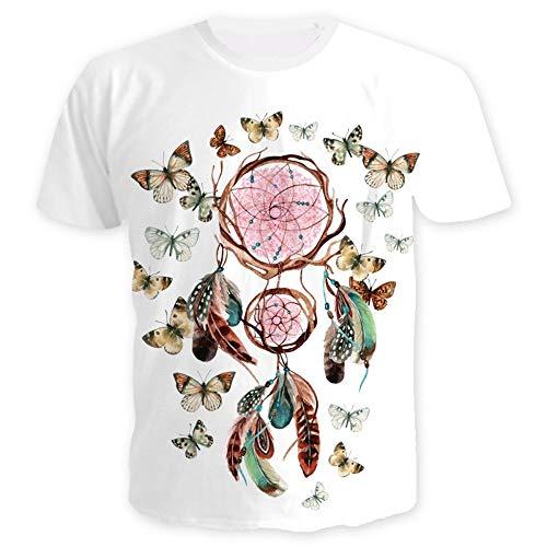 XIAOBAOZITXU T-Shirt Camiseta impresión Digital 3D atrapasueños Mangas Cortas Cuello Redondo Ropa para Amantes de Hombres y Mujeres Moda Deportiva Suelta Camiseta de Gran tamaño M