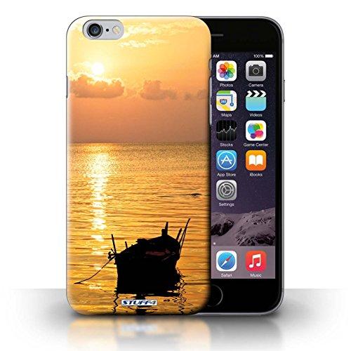 iCHOOSE Hülle / Hülle für iPhone 6+/Plus 5.5 / harter Plastikfall für Telefon / Collection Sonnenuntergang / mountain top Fischerboot