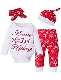 Baby Christmas Pyjamas Set Snowflake Long Sleeve Romper Pant Headband Hat 4 piezas de ropa Set para niño niña