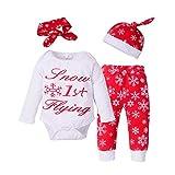 Blaward Baby Mädchen Jungen Outfits Schnee Fliegen Langarm Bodys+Schneehose+Stirnband + Hut 4 Stücke für Neugeborene