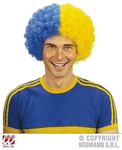 - blau / gelb, Nationalmannschaft Weltmeisterschaft Sport WM Fußball Fanverkleidung (Sports Perücke)