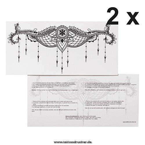 2 x Underboob Tattoo TypB - Schwarzes Sexy Unter Brust Tattoo - Sternum Under Breast - No China! (2)