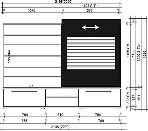 2-2-4-710: prod. in BRD – TV-Wand – Wohnwand – walnuss – hochglanz-schwarz - 2