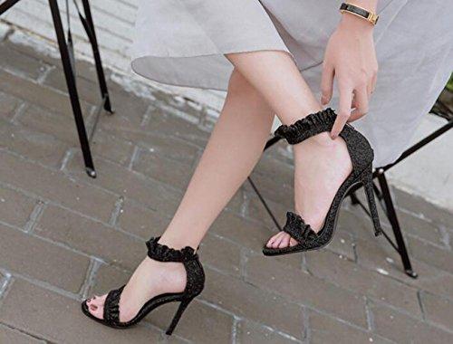 PBXP Limitierte Edition Fashion Wave Pattern Knöchelriemen Charmante Hochzeit Peep Toe Sandalen Stiletto Ferse Casual Party Sandalen Black